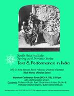 MARCH 10 - South Asia Seminar Series: Anna Morcom, Royal Holloway University of London