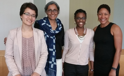 From left are PhD candidate Vrinda Marwah, Dr. Sharmila Rudrappa, Dr. Maya Berry, and Dr. Christen Smith at book reception.