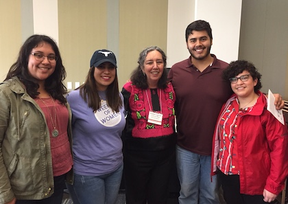 Women's and Gender Studies majors meet Dr. Marcela Lagarde y de los Ríos. Students, from left, are Roseanne Carreon, Edaly Cardenas, Amadeus Miranda, and Steph Salazar.