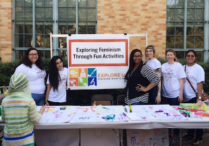 Women's and Gender Studies undergraduate and graduate students engaged Texas families and teachers in learning about CWGS during the university's annual Explore UT event.