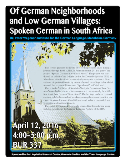 Dr. Wagener will talk on German as spoken in South Africa