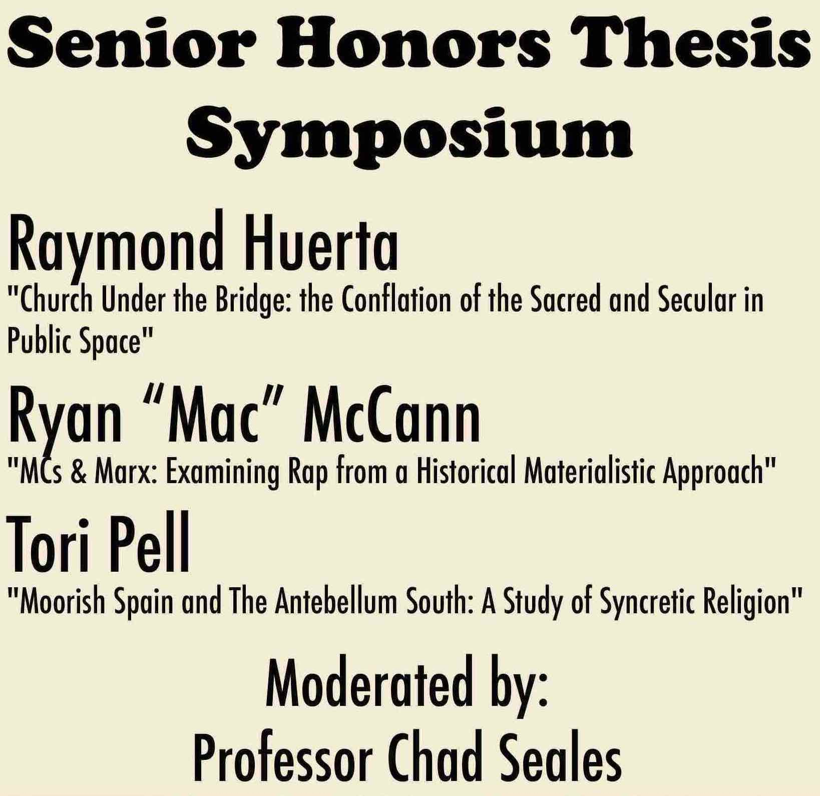 RS Thesis Symposium Program