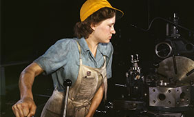 A female factory worker in 1942, Fort Worth, Texas. Image by the U.S. Library of Congress's Prints and Photographs division.