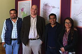 (L–R): Lic. Víctor Manuel Pérez, AGHPEM Director; Matthew Butler, UT Austin; Lic. Ulisés Romero Hernández, Director of Archives, Michoacán State Government; Cecilia Bautista García, UMSNH