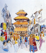 Kathmandu's Freak Street, c. 1972. Watercolor by Desmond Doig