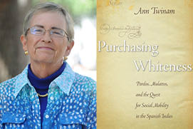 Prof. Ann Twinam, and the cover of her award-winning book