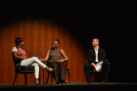 [Left to right] Lezley McSpadden, Drea Brown, Dr. Eric Tang during the first keynote address