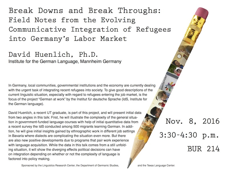 Dr. Huenlich will talk about issues of language and dialect that complicate economic issues surrounding migration in Germany