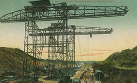 Postcard depicting construction of locks at the Panama Canal. Benson Latin American Collection.