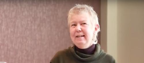 Barbara Harlow speaking at Michigan State University, 2012. via YouTube.