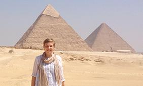 Helen Heston visiting the Pyramids of Giza