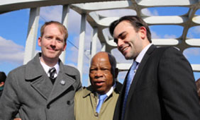 From left: Nate Powell, John Lewis and Andrew Aydin