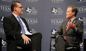 James Henson interviews Speaker Joe Straus (right), 2015. Photo by Ryan Miller, Texas Politics Project