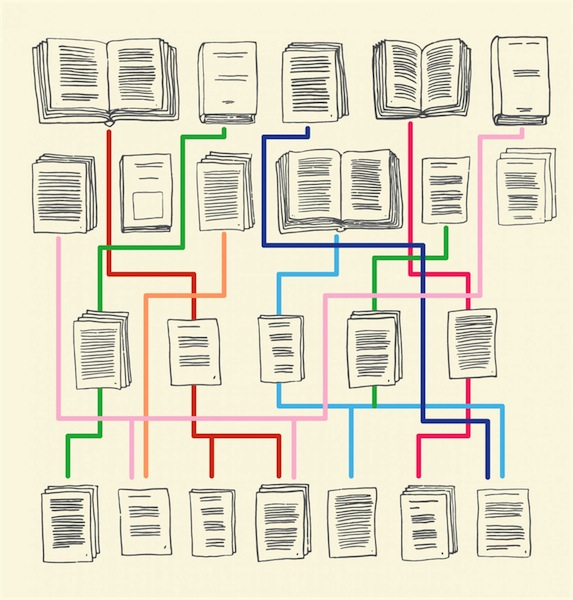 Studying intertextuality shows how books are related in various ways and are reorganized and recombined over time. Image courtesy of Elena Poiata.