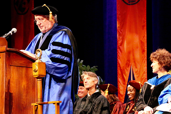 In commencement address, Brian Levack urges history graduates to be on guard against distortions of the historical record