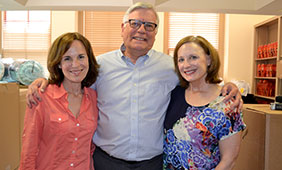 From left, Grown & Flown co-founder Lisa Heffernan, Dean of the College of Liberal Arts Randy Diehl, and Grown & Flown co-founder Mary Dell Harrington (Plan II alumna).