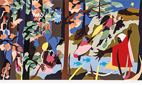 The exhibit provides a comprehensive overview of influential American artist Jacob Lawrence's (1917–2000) printmaking oeuvre, produced from 1963 to 2000