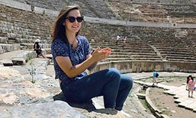 Elizabeth Nelson at the ruins of Ephesus.