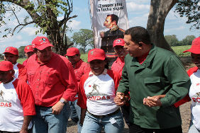 Hugo Chavez with supporters