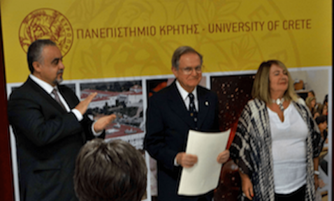 Awarded an honorary doctorate in philosophy by the University of Crete, in Greece
