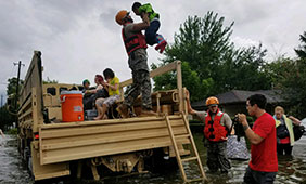 Texas National Guard Soldiers rescue stranded Houston residents in the aftermath of Hurricane Harvey on Aug. 27, 2017. U.S. Air Force photo by/1st Lt. Zachary West