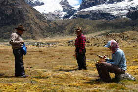 Molly Polk and field assistants recording land cover in Peru's Huascaran National Park
