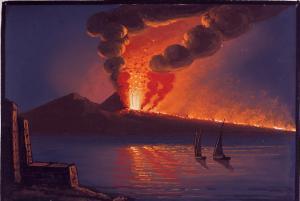 Vesuvius erupting against a night sky