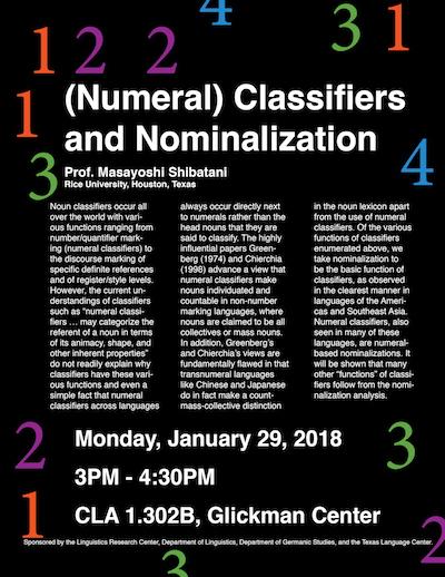 Talk on noun classifiers by Dr. Shibatani