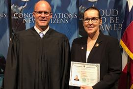 Prof. Lichtenstein receives her citizenship certificate, Jan. 25, 2018