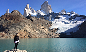 Megan Nater hiking to Mt. Fitz Roy in Patagonia, Argentina.