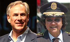 Texas gubernatorial candidates Gov. Greg Abbott (left) and Lupe Valdez (right)