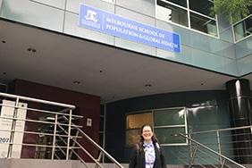 Latino Research Initiative Fellow, Dr. DuPont-Reyes, in front of the Melbourne School of Population & Global Health, Australia