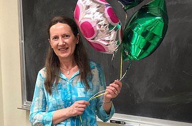 Bernadeta Kaminska was presented with balloons and a plaque upon receiving her award,