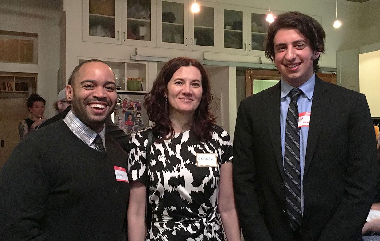 Grad students Morgan Henson and Nicholas Hemlock with Dr. Oksana Lutsyshyna (center)