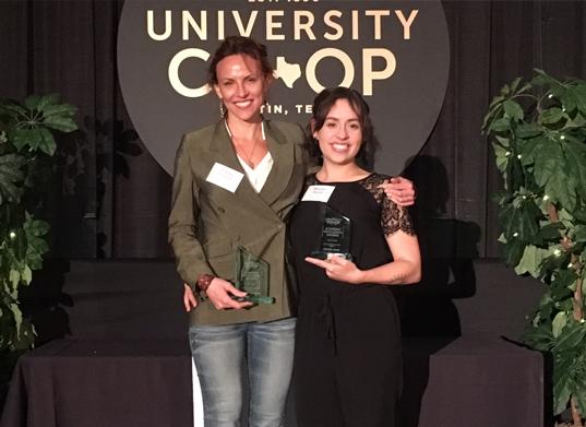 Aubrey Plourde (left) and Melissa Heide (right) accepting their awards