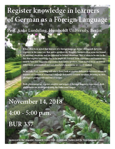 Using corpora to study register as expressed by learners of German as a Foreign Language