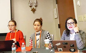 Vasilina Orlova (left) presenting on her panel at ASEEES this year