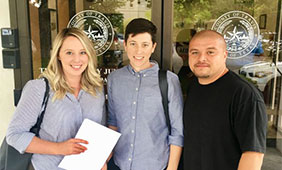 Volunteer instructors Sarah Brayne, Lindsay Bing and Armando Tellez on the first day of class with TPEI.