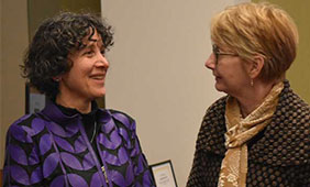 Co-directors Karen Fingerman and Deb Umberson at the Texas Aging & Longevity Center launch, Jan. 25, 2019. Photo by Edwin Rodriguez.