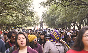 The annual MLK march, held at UT Austin campus. Photo by Raul Buitrago.