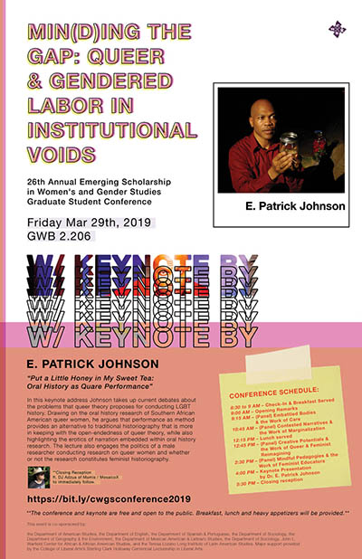 Min(d)ing the Gap: Queer and Gendered Labor in Institutional Voids - WGS Graduate Student Conference set for March 29