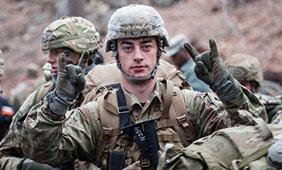 Madison Gehler (Army ROTC alum, 2017) flashes a