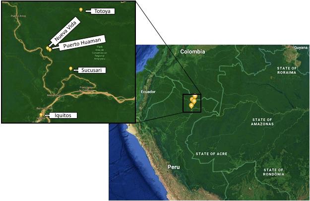 Map of Grace Neveu's field sites