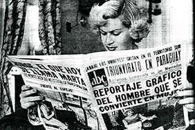 """Marta Olmos, born Jorge, who was the first person in Mexico to undergo a sex change operation."" Photo Credit: ""Marta hace sus compras,"" ABC (Mexico City) 7 May 1953, pp. 7-8. Hemeroteca Nacional."