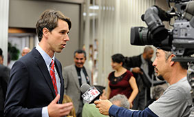 Beto O'Rourke being interviewed at the 2012 Greater El Paso Chamber of Commerce Candidate Forum for Democratic Candidates for the 16th Congressional District of Texas. Photo courtesy of the Beto O'Rou