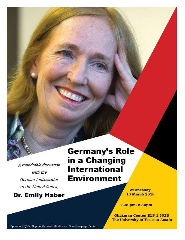 German Ambassador tot he US, Dr. Emily Haber, to visit UT Austin 3/13/2019