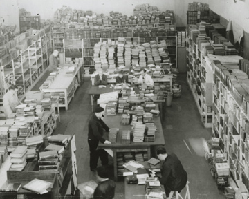 A warehouse of confiscated books in Prague, 1942-1944 (Jewish Museum in Prague)