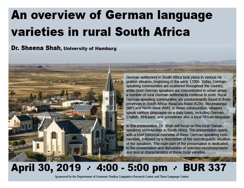 Dr. Shah presents on the German language in South Africa