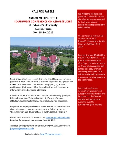 Call for Papers:  Annual Meeting of the Southwest Conference on Asian Studies
