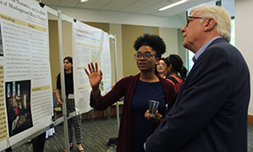Thomaia Pamplin speaks to Dean Randy Diehl about her research project.